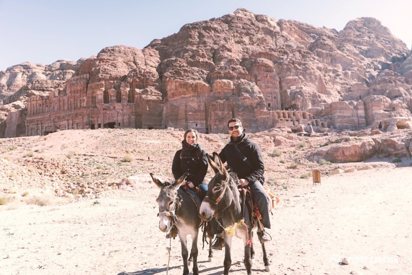 Riding donkeys around Petra.