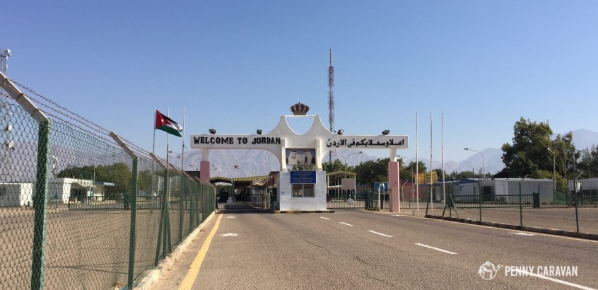 Walking across the border to Jordan.