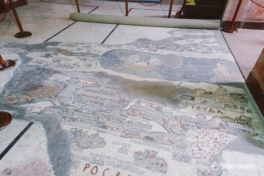 The mosaic map on the floor of the church.