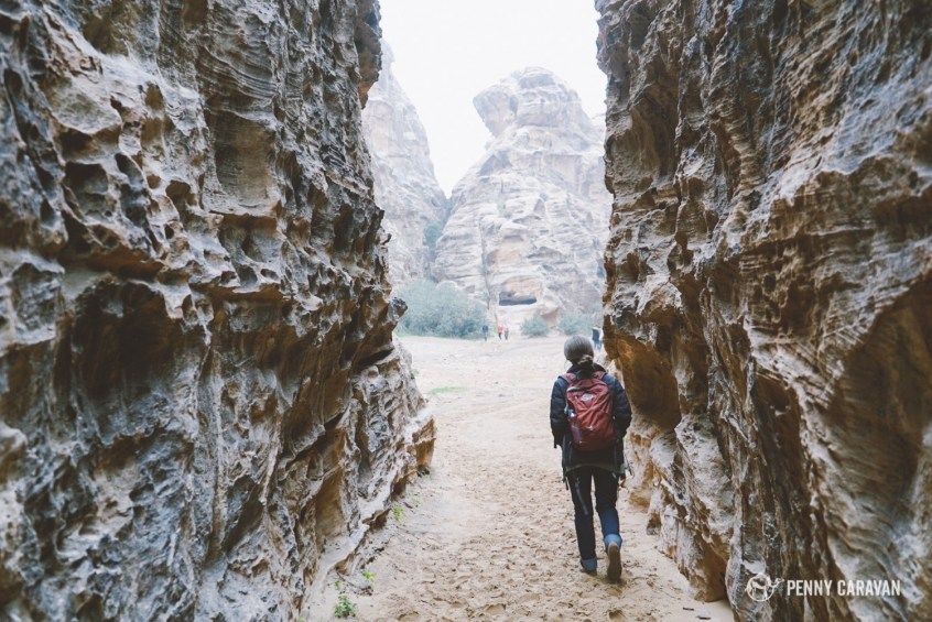 Walking through the Siq of Little Petra.