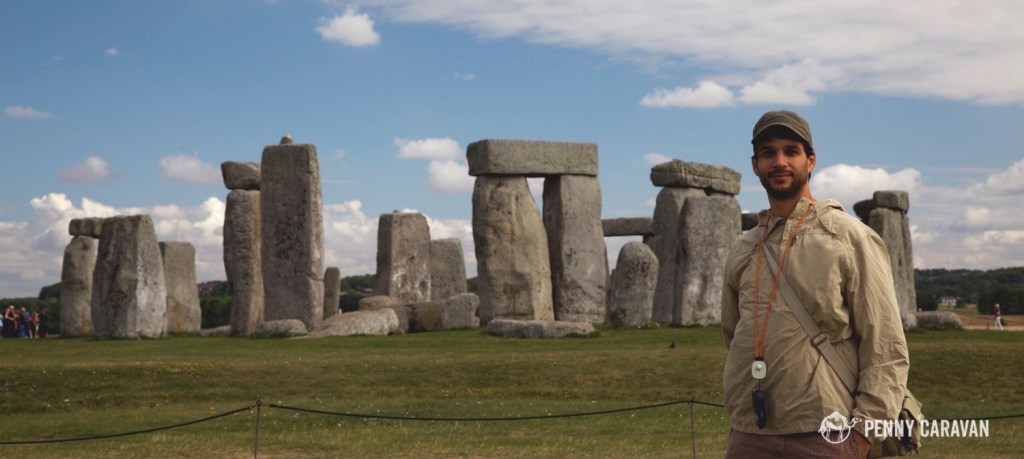 Inspecting Stonehenge in England.