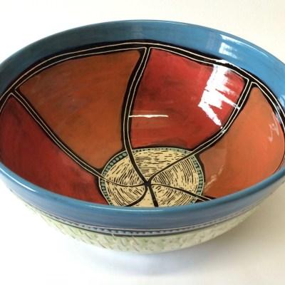 #435 Red Spirit Dreaming ceramic Fruit Bowl