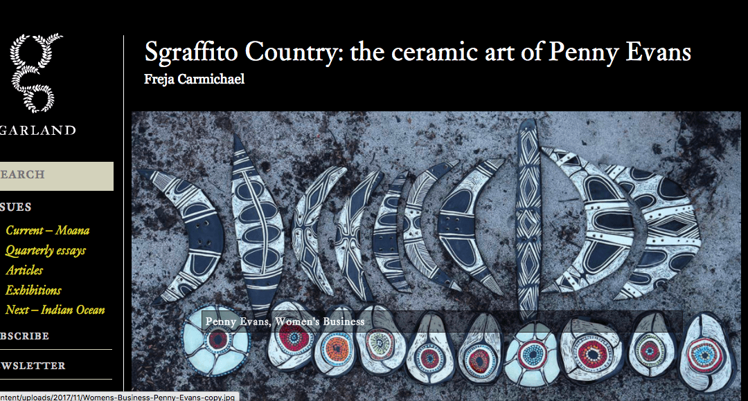 Sgrafitto Country: The Ceramic Art of Penny Evans – Article in Garland Magazine Dec 17