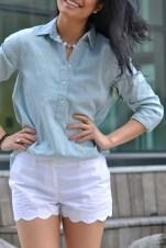 Something Blue: patterned chambray, scalloped shorts, eyelet laceups