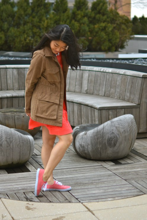 Utility Jacket and Coral Eyelet Laceups