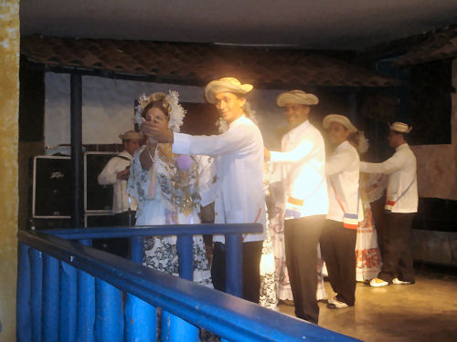 Pollera Dancers with Male Partners in Traditional Panamanian Costume