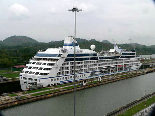 Modern cruise ship in the Miraflores Locks on the Pacific side