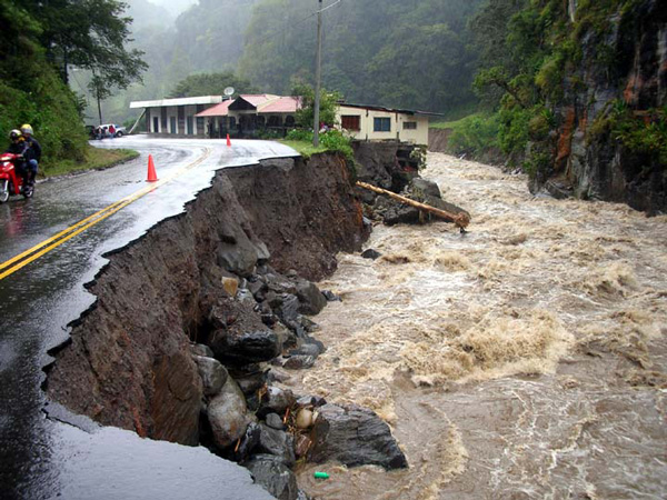 Many roads washed out, like this one