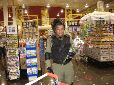 This big, burly Panamanian policeman was buying flowers for his sweetie!