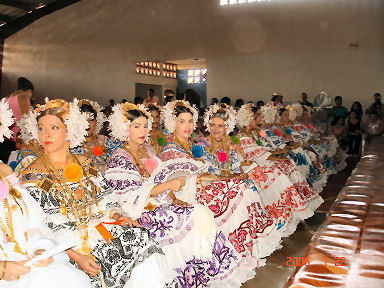 Contestants awaiting their turn at the Pollera Festival
