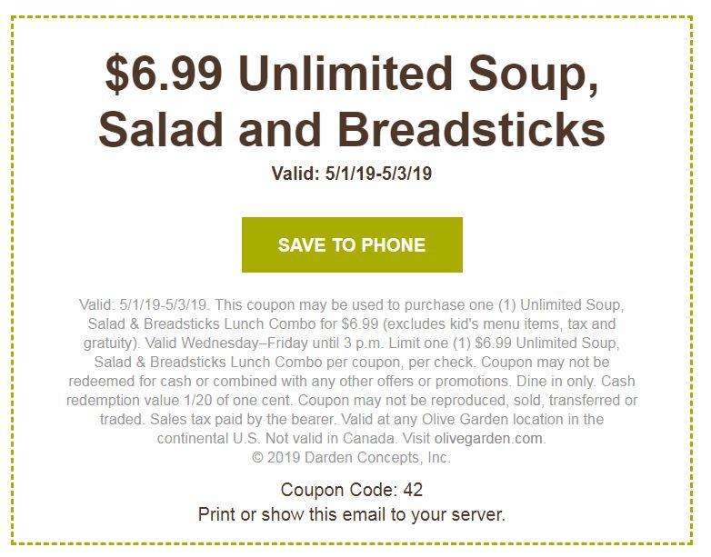 Olive Garden 6 99 Soup Salad Breadsticks Penny Puss