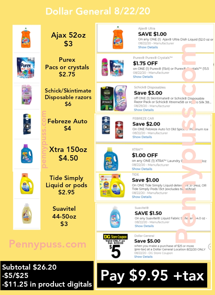 Dollar General 5 Off 25 All Digital Scenarios Saturday August 22 Penny Puss