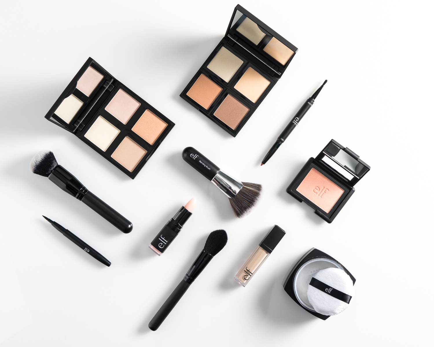 Elf Cosmetics flat lay on a white background