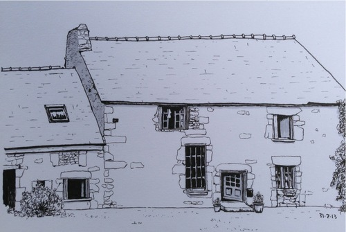 Old French Farmhouse Sketch Pens Paper Pencils