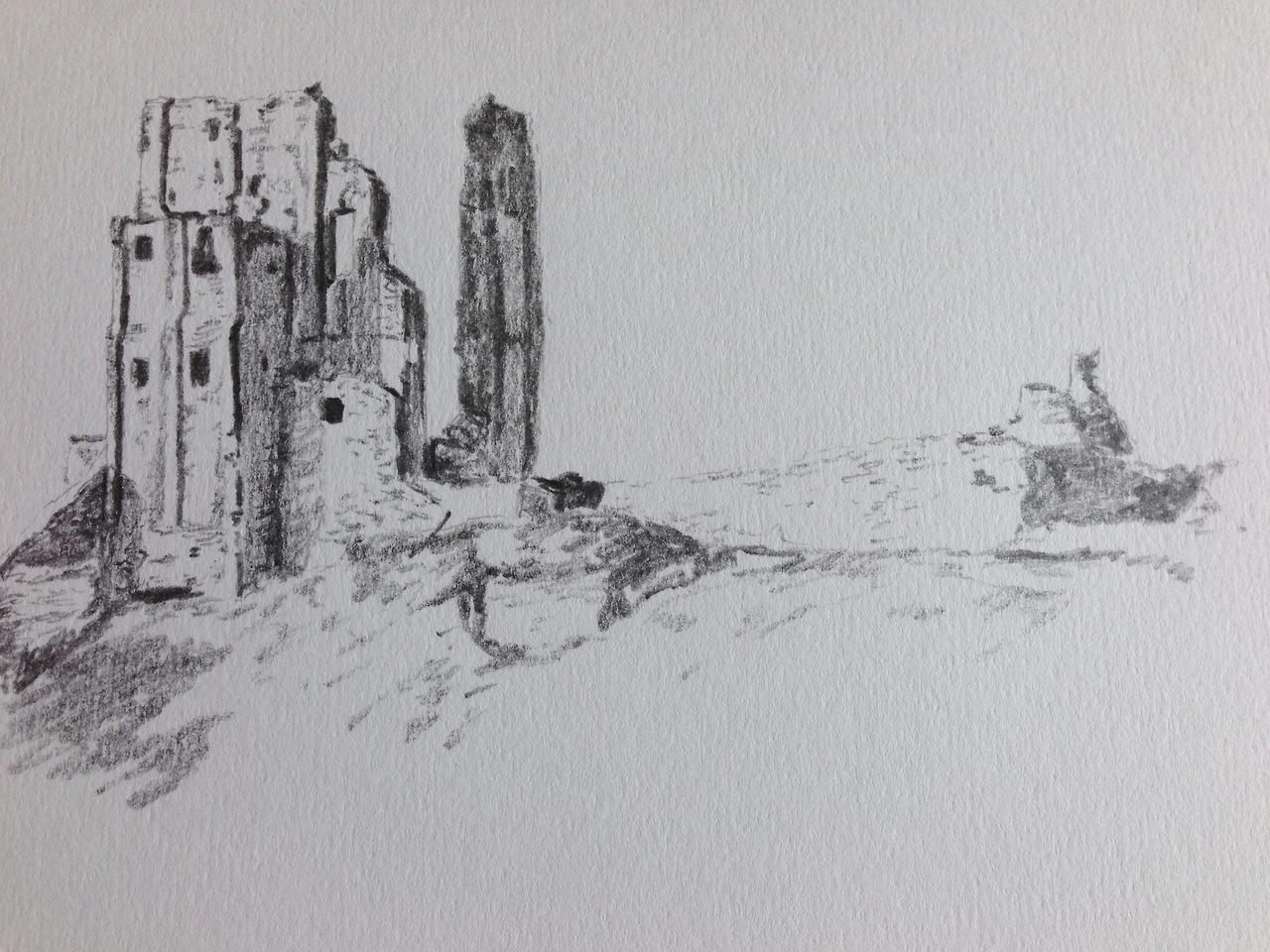 Corfe castle sketch