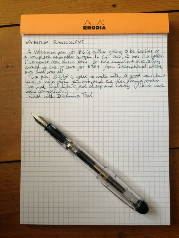 Waterman Translucent fountain pen handwritten review
