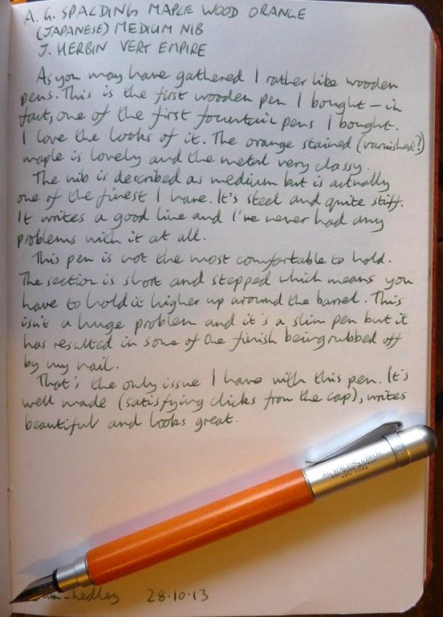 A G Spalding Maple Wood Orange handwritten review
