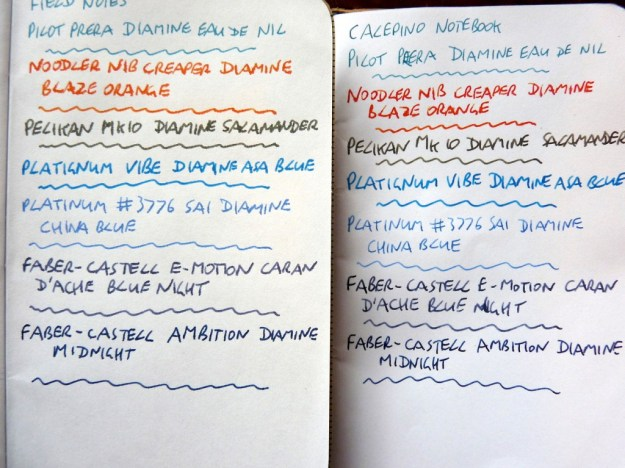 Calepino and Field Note notebook ink comparison
