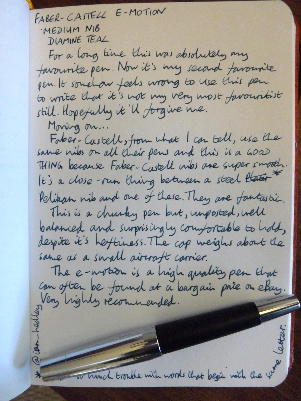 Faber Castell E Motion Fountain Pen Review Pens Paper
