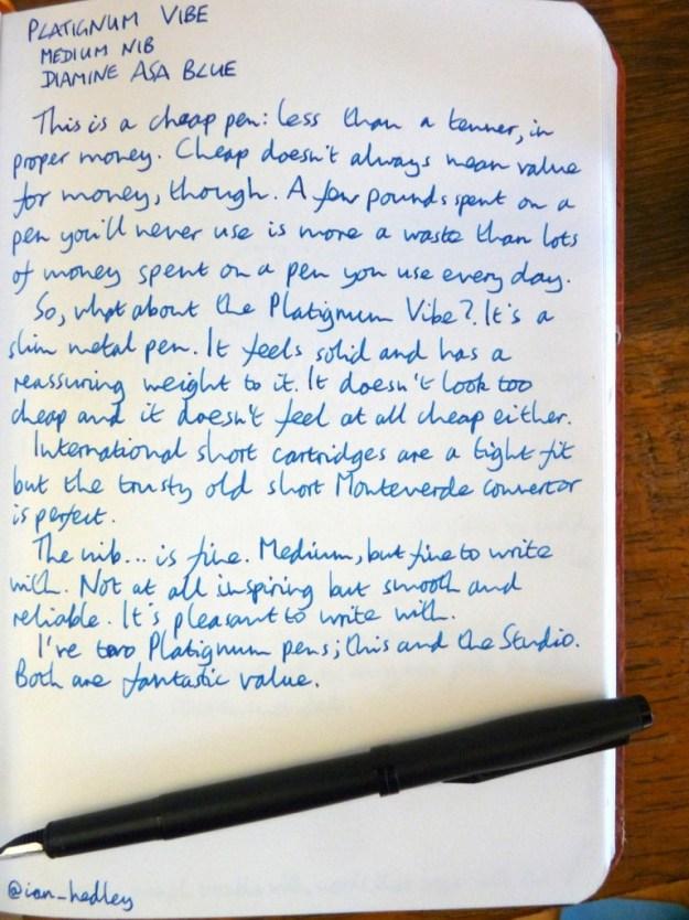 Platignum Vibe fountain pen handwritten review