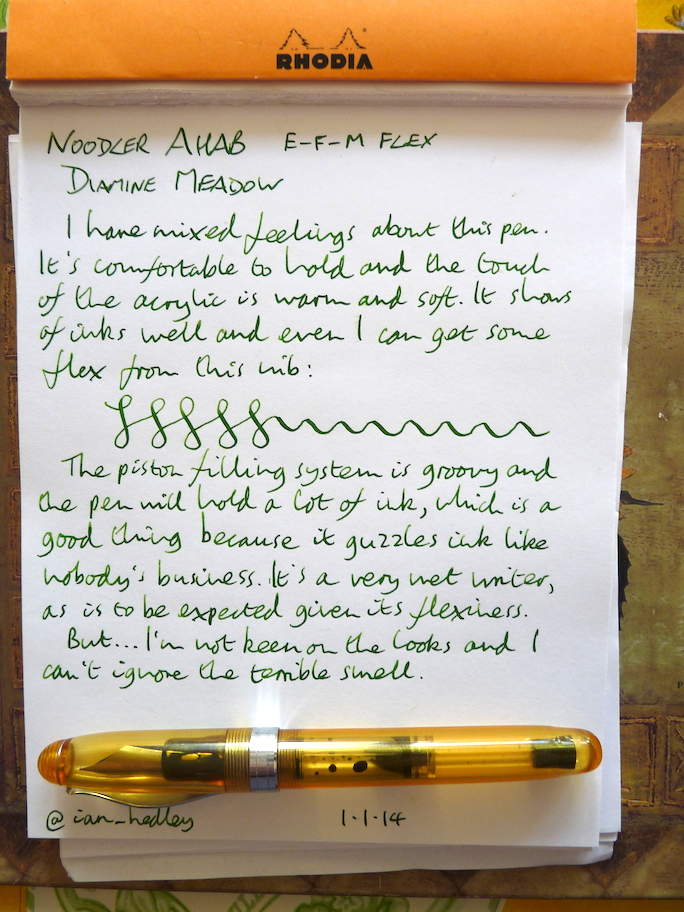Noodler Ahab fountain pen handwritten review