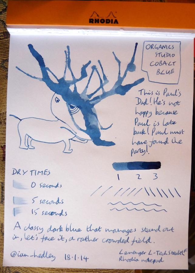 Organics Studio Cobalt Blue ink handwritten review