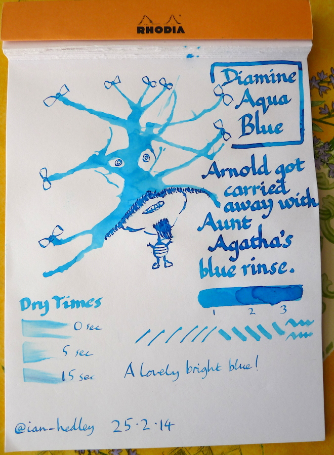 Diamine Aqua Blue ink review Inkling