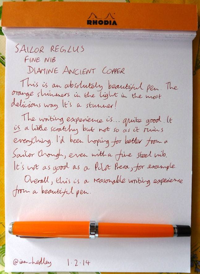 Sailor Reglus fountain pen handwritten review