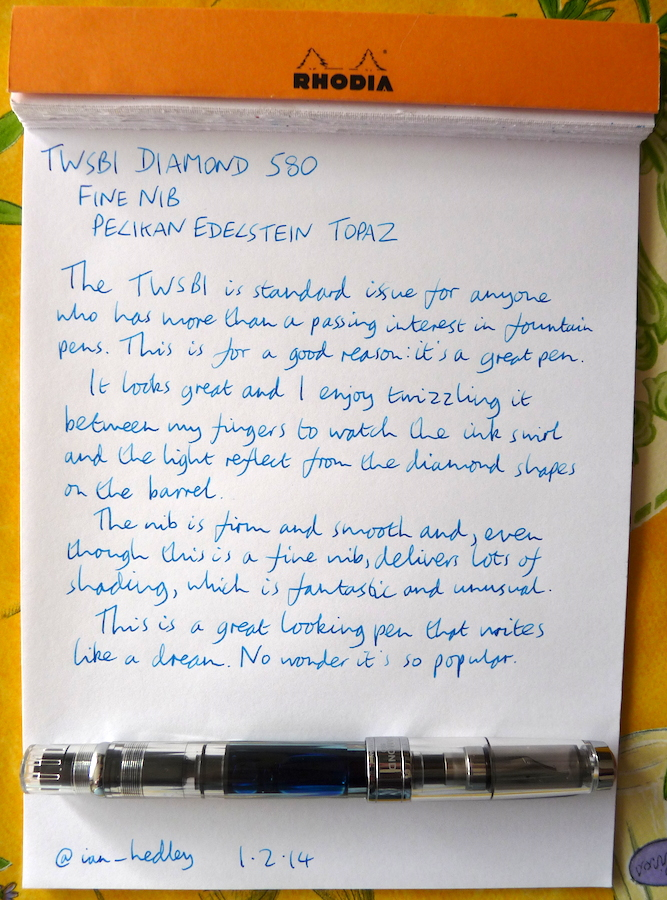 TWSBI Diamond 580 fountain pen handwritten review