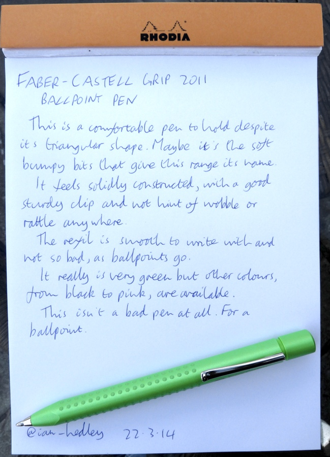 Faber-Castell Grip 2011 Ballpoint handwritten review