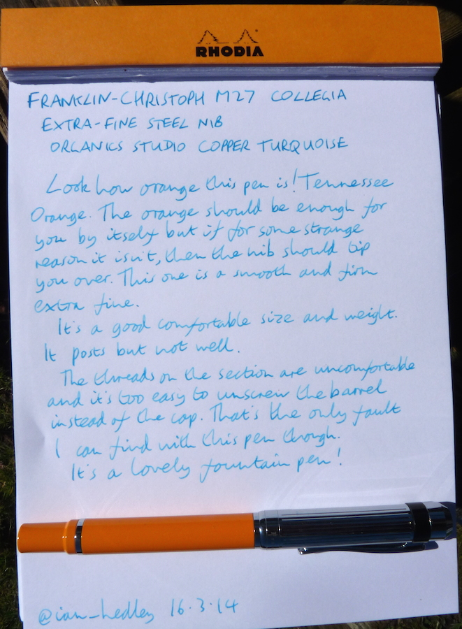 Franklin-Christoph M27 handwritten review