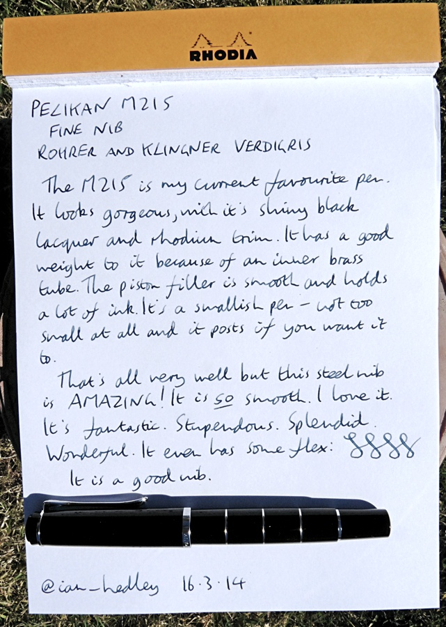 Pelikan M215 fountain handwritten review