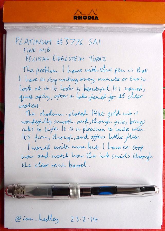 Platinum 3776 Sai handwritten review