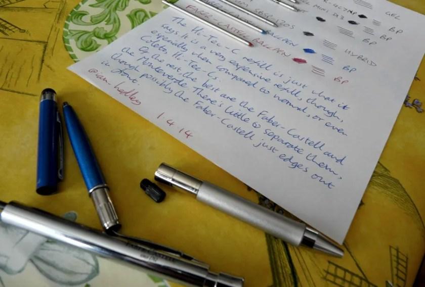 D1 refill comparison round 1 pens