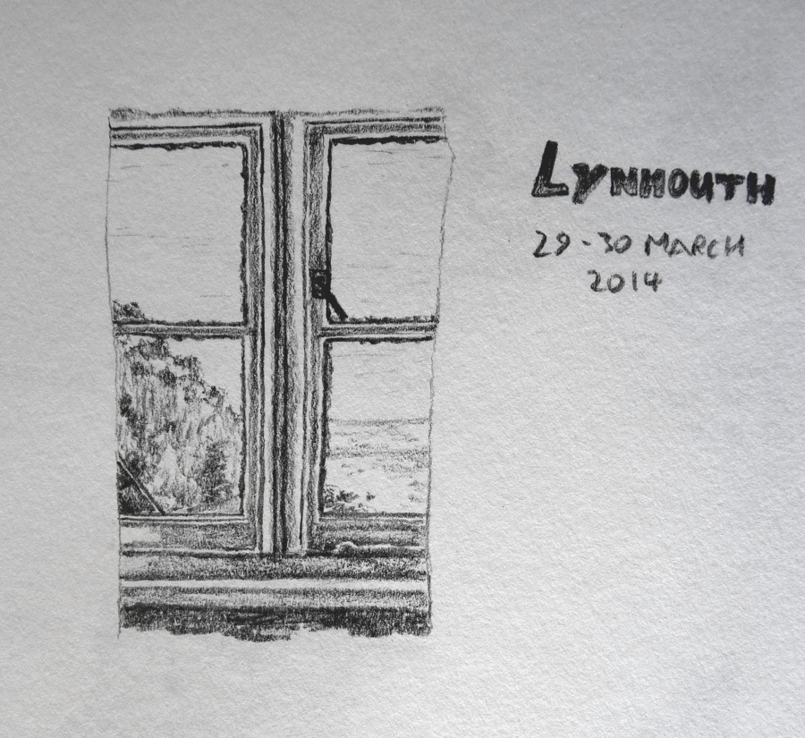 window pencil drawing. lynmouth pencil sketch. we were back at the tors hotel last weekend and this was view from our window, looking down to lynmouth. window drawing