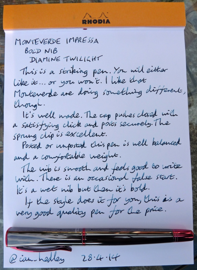 Monteverde Impressa fountain pen handwritten review