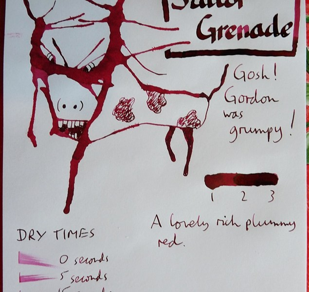Sailor Jentle Grenade ink review Inkling doodle