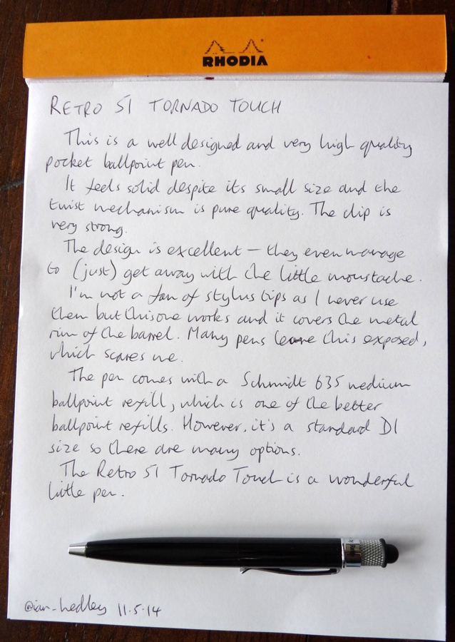 Retro 51 Tornado Touch handwritten review