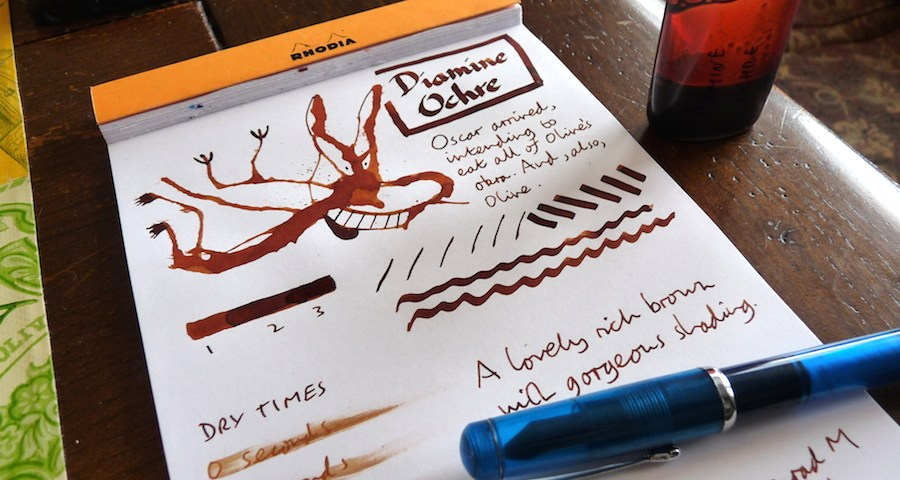 Diamine Ochre ink review