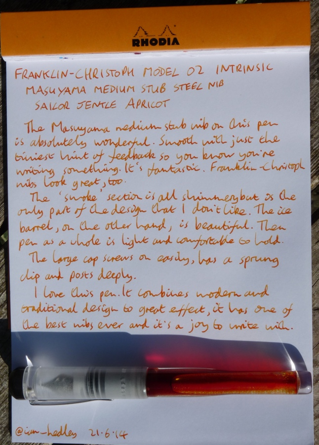Franklin-Christoph M02 fountain pen handwritten review