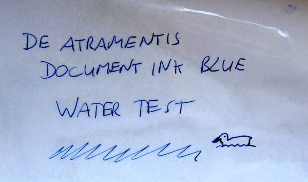 De Atramentis Document Ink Blue water test
