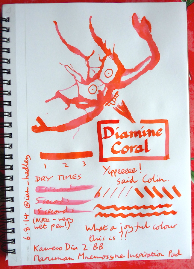 Diamine Coral Inkling doodle