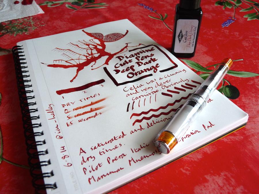 Diamine Cult Pens Deep Dark Orange ink review