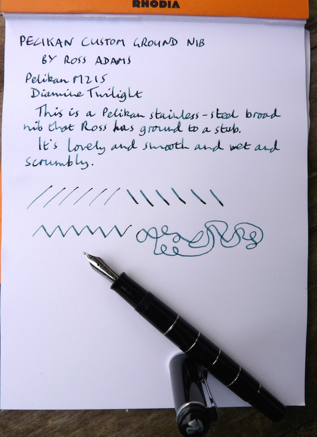 Pelikan custom ground nib handwritten review