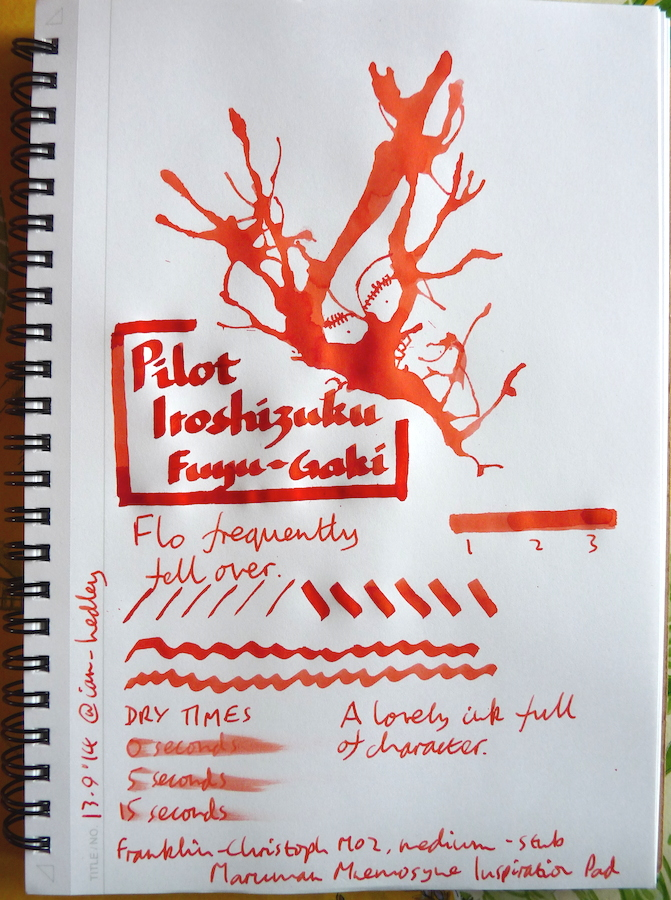 Pilot Iroshizuku Fuyu-Gaki Inkling doodle
