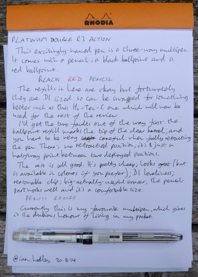 Platinum Double R3 Action multipen handwritten review