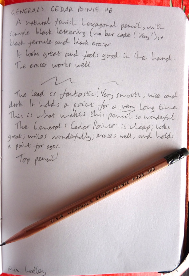 Generals Cedar Pointe pencil handwritten review