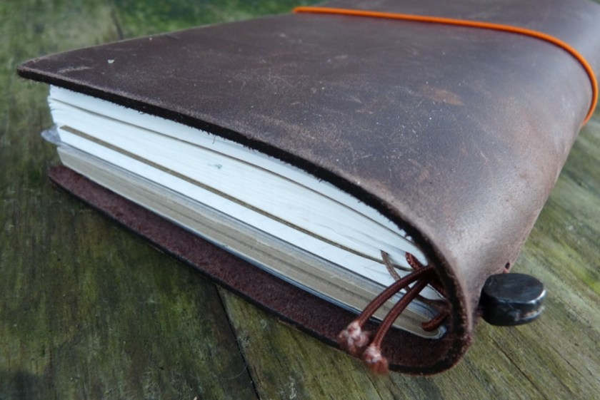 Midori Traveler's notebook from the top with all the cords