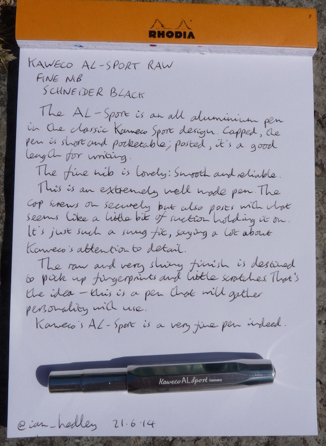 Kaweco AL-Sport fountain pen handwritten review