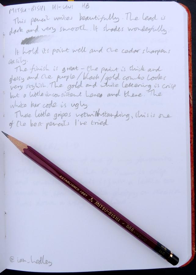 Mitsu-Bishi Hi-Uni handwritten review